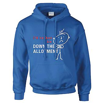 Mens I'd Rather Be Down The Allotment Hoodie Royal Blue
