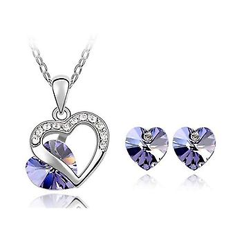 TOC Silvertone Lilac Crystal Heart Stud Earrings & Pendant Necklace Gift Set