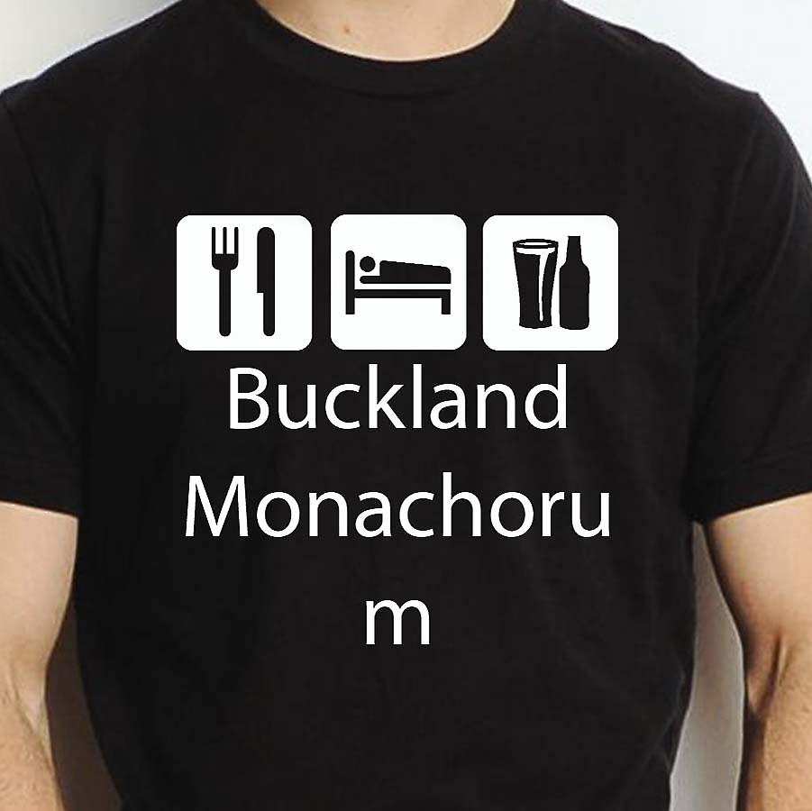 Eat Sleep Drink Bucklandmonachorum Black Hand Printed T shirt Bucklandmonachorum Town