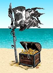 Pirate Treasure Peel 'N sted (1 ark)