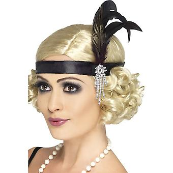 Womens Black Satin Charleston Stirnband Fancy Dress Zubehör
