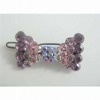 Crystals Bow Bridal Barrette Hair Clip Swarovski Austrian Clip