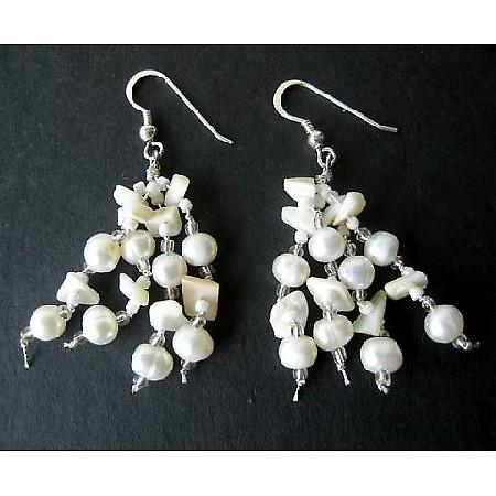 Freshwater Pearls & White Stone Chip Sterling Silver Earrings