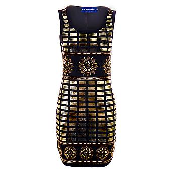 Ladies gull Sequin broderi piggdekk strekke Bodycon Women's Party kjole