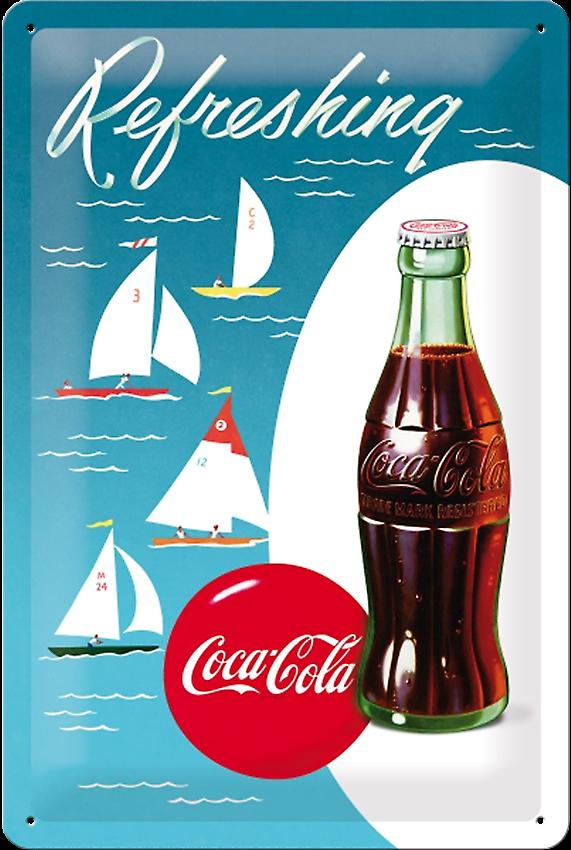 Coca Cola Sailing Boats embossed steel sign   (na 3020)