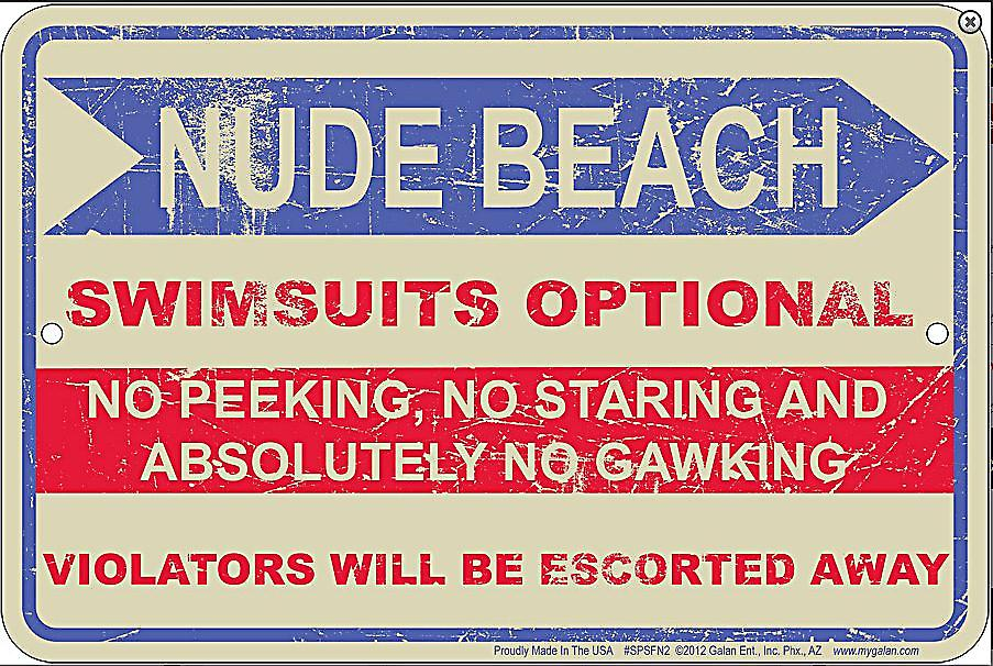 Nude Beach embossed metal sign  (ga)