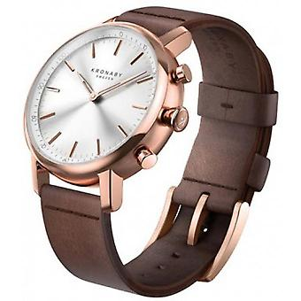 E Connect watch Kronaby A1000-1401 - Connect watch Leather Brown Bo tier Dor Rose man e