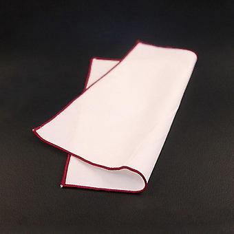 Burgundy trim plain white 100% cotton pocket square