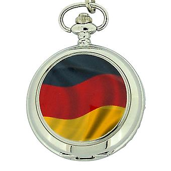 Boxx German Flag White Dial Gents Pocket Watch 12 Inch Chain Boxx309