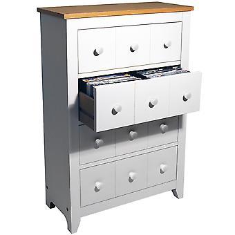 Shaker - 4 cassettiera Storage - 228 Cd / 104 Dvd / Blu-ray / Media - bianco / faggio