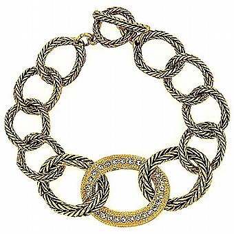 Park Lane Goldtone Glass Set Rope Design Links T-Bar Bracelet 7