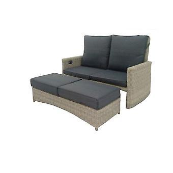 Cozy Garden Honokalani verstelbare loungebank inc. voetenbank - bruin