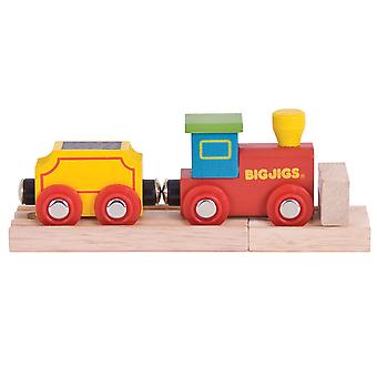 Bigjigs Rail My First Wooden Engine with Track & Buffer - Locomotive, Train