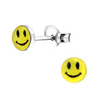 Børns sterling sølv Petite smiley Face stud øreringe