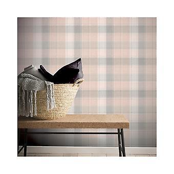 Arthouse County Check Stripe Tartan Faux Tissu Pattern Geometric Pastel Fond d'écran 901900