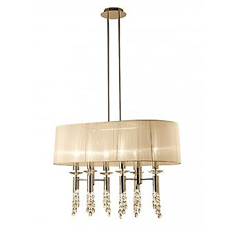 Mantra Tiffany Pendant 6+6 Light E27+G9 Oval, French Gold With Cream Shade & Clear Crystal