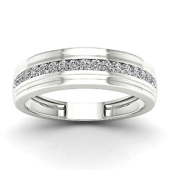 IGI Certified 10k White Gold 0.33 Ct Natural Diamond Men's Wedding Band Ring