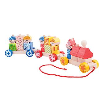 Bigjigs Toys Pull Along Build Up Train with Stacking Blocks Educational Shapes