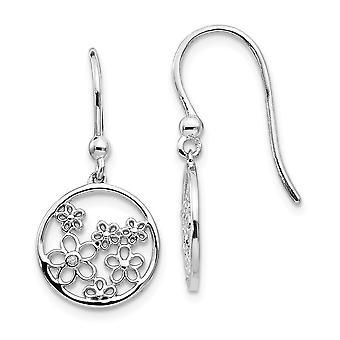 925 Sterling Silver White Ice .01ct Diamond Shepherd Hook Earrings - .010 dwt