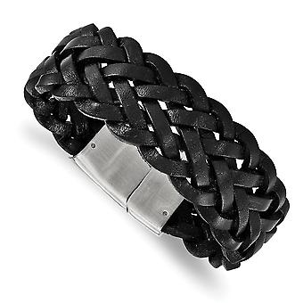 Stainless Steel Polished Black Leather Bracelet - 8.25 Inch