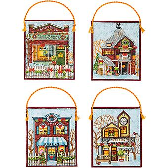 Winter Village Ornaments Counted Cross Stitch Kit-16 Count Set Of 4 70-08954