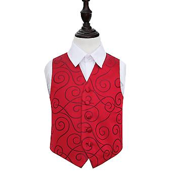 Boy's Burgundy Scroll Patterned Wedding Waistcoat