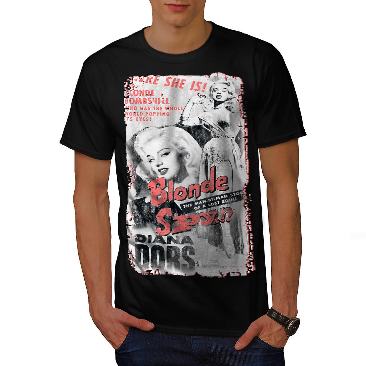 Diana Dors Blonde Bombshell Spy Men Black T-shirt | Wellcoda
