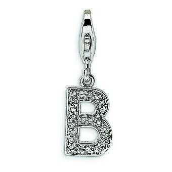 Sterling Silver Solid Rhodium-plated Not engraveable Fancy Lobster Closure Cubic Zirconia Letter B With Lobster Clasp Ch