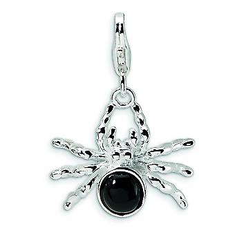 Sterling Silver 3-D Enameled Spider With Lobster Clasp Charm - 2.3 Grams - Measures 26x18mm