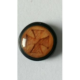 Fake Cheater Ear Plug, Earring, Body Jewellery, Wood Templar Cross
