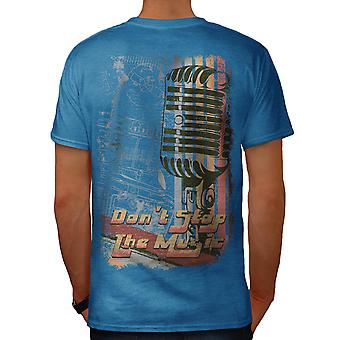 Don t Stop The Music USA batte Royal Blue t-shirt uomo indietro | Wellcoda