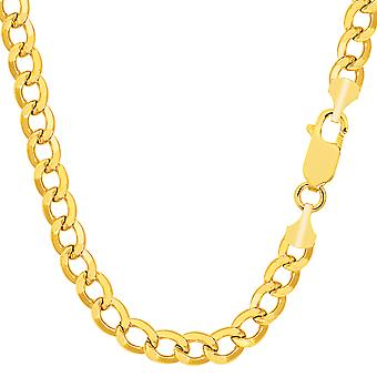 14k Yellow Gold Curb Hollow Chain Necklace - Width 5.5mm