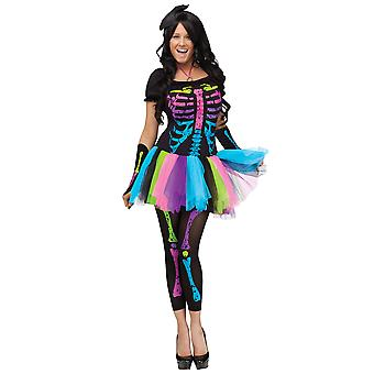 Funky Punky Bones Skeletons 1980s Disco Day of the Dead Women Costume