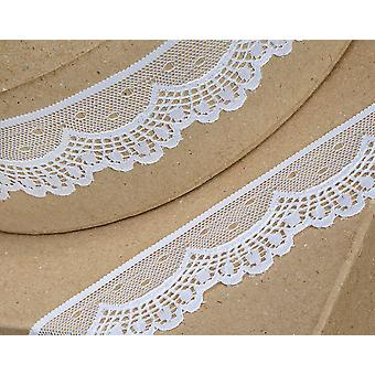 40mm White Scalloped Lace Border Trim Ribbon for Craft - 5m