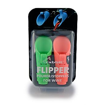 Metrokane Rabbit Flipper Pourer Pack of 2, Assorted Colours