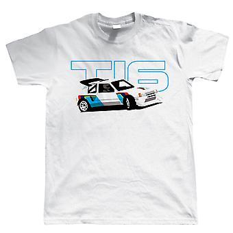 205 T16, Funny Rally Car Mens T-Shirt