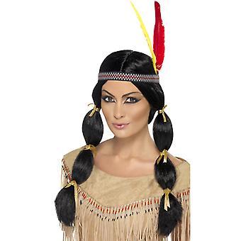 Indian wig black headband with braids
