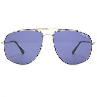 Tom Ford Georges Pilot Sunglasses In Shiny Light Ruthenium