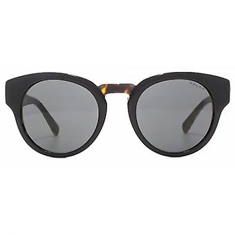 Ralph By Ralph Lauren Two Tone Peaked Round Sunglasses In Black Tort