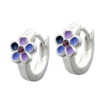 Creole flower flower purple painted Creole hinged flip top girls Jewelry Silver 925