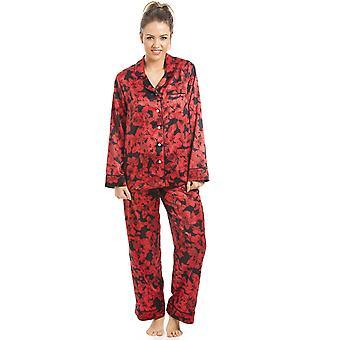 Camille Black And Red Floral Satin Pyjama Set
