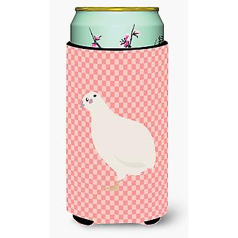 Texas Quail Pink Check Tall Boy Beverage Insulator Hugger
