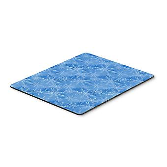 Watercolor Dark Blue Winter Snowflakes Mouse Pad, Hot Pad or Trivet