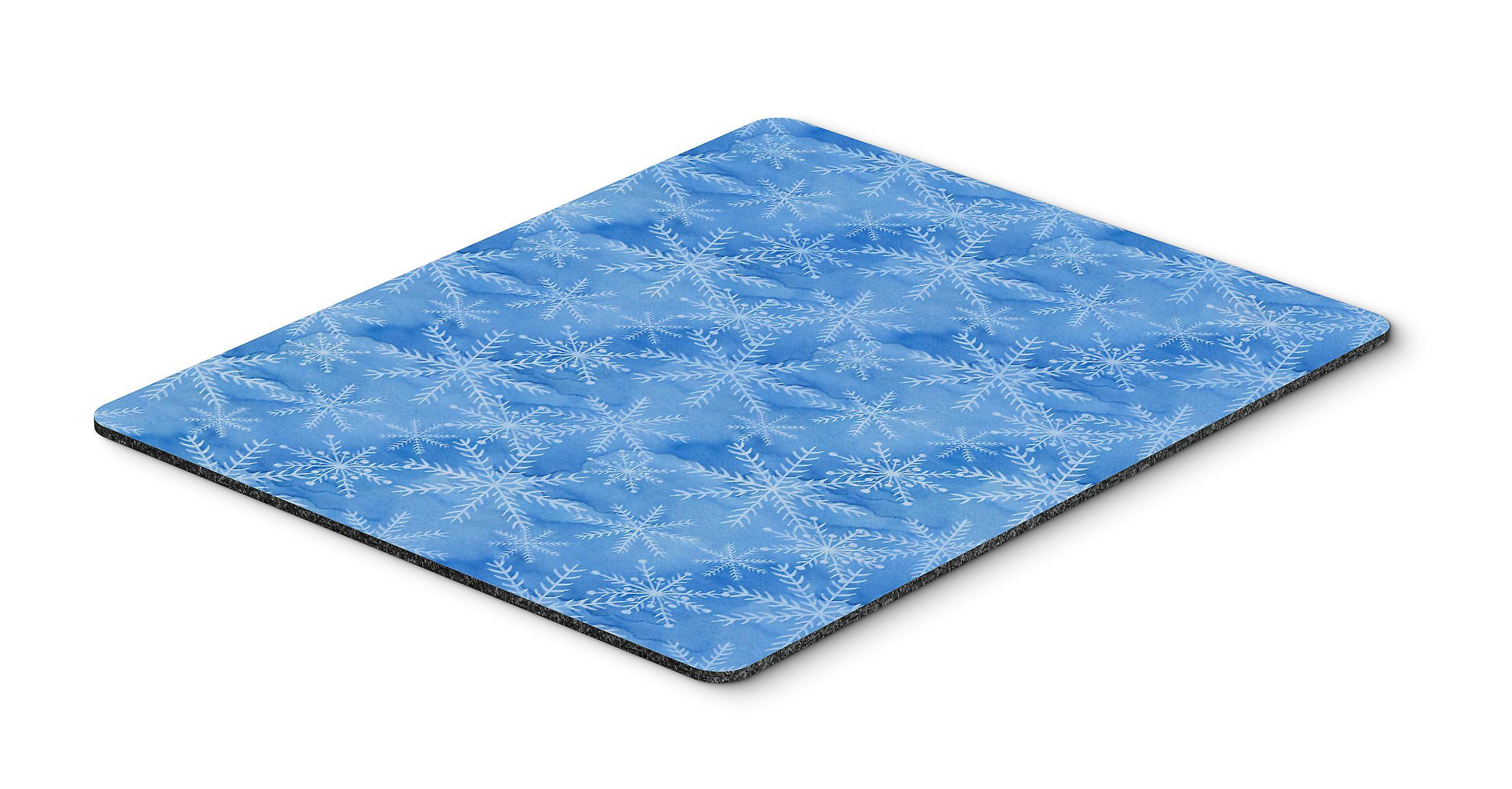 Watercolor Dark Blue Winter Snowflakes Mouse Pad, Hot Pad or Trivet