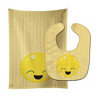 Carolines Treasures  BB8729STBU Laughy Face Baby Bib & Burp Cloth