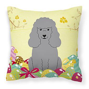 Easter Eggs Poodle Silver Fabric Decorative Pillow
