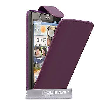 Huawei Ascend G740 Leder-Effekt Flip Case - lila