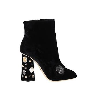 Dolce E Gabbana women's CT0322AM40880999 black velvet ankle boots