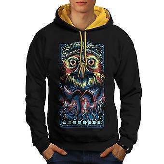 Owl Hippie Indian Animal Men Black (Gold Hood) Contrast Hoodie | Wellcoda