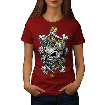 Biker Rock Art Skull Women RedT-shirt | Wellcoda